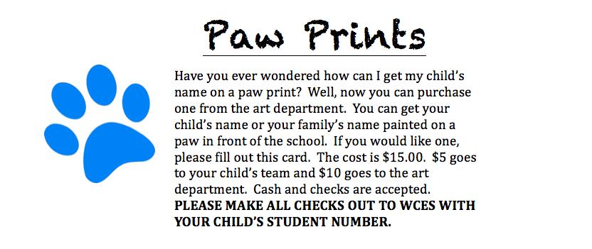 Paw Print Order Form